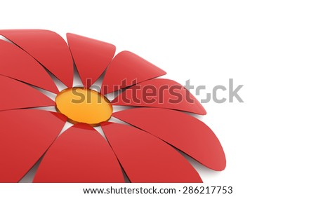 Abstract red flower rendered isolated on white background