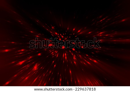Abstract red fractal composition. Magic explosion star with particles - stock photo