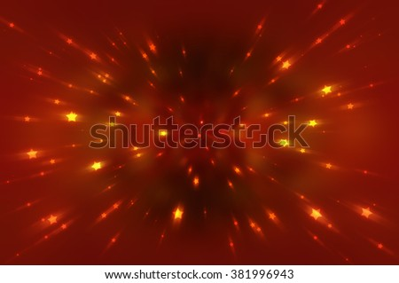 Abstract red fractal composition. Magic explosion star with particles