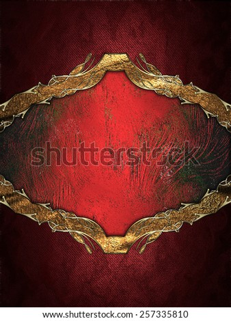 Abstract red frame with gold border. Design template. Design siteAbstract red frame with gold border. Design template. Design site - stock photo