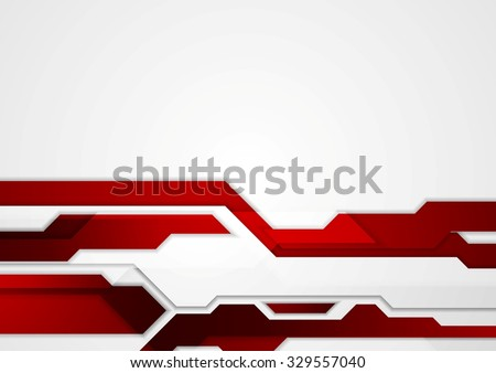 Abstract red geometric tech corporate design - stock photo