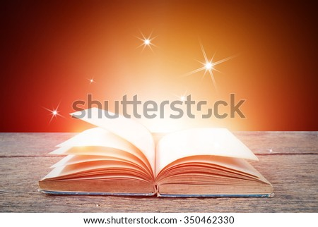 Abstract red gold magic book background