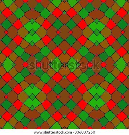 Abstract red green mosaic kaleidoscopic symmetrical pattern - stock photo