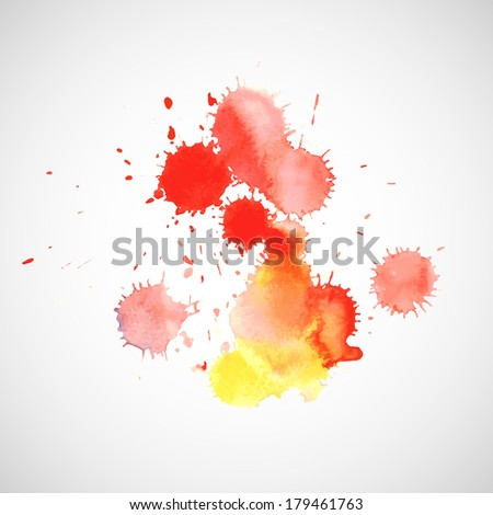 Abstract red hand drawn watercolor background. Raster version.