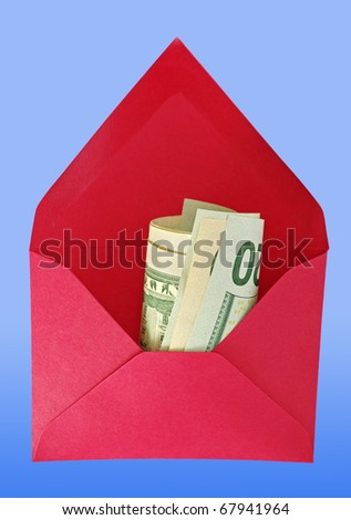 Abstract red house-envelope with dollars on the blue background. - stock photo