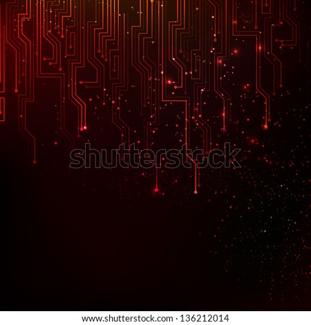 Abstract red lights background.  Illustration. - stock photo