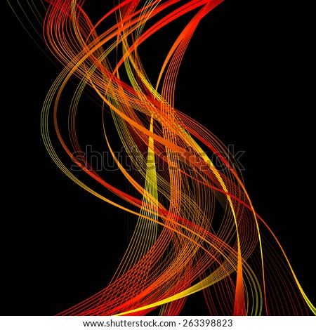 abstract red line orange wave yellow band on black background raster