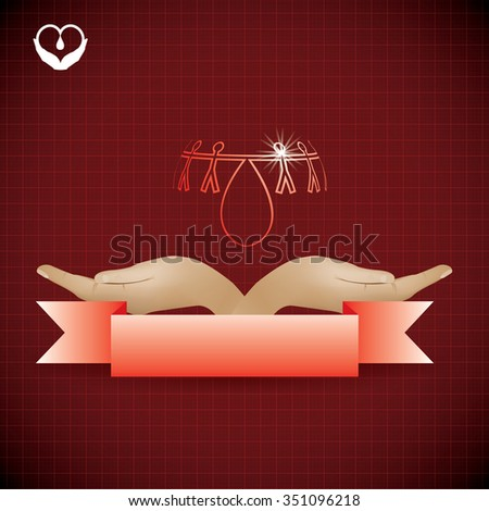 Abstract red medical background asking to donate - stock photo