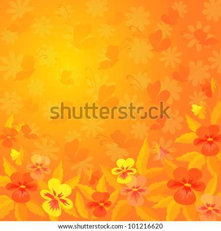 Abstract red, orange, and yellow background: pansies flowers and butterflies silhouettes