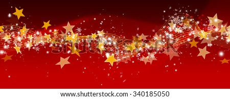 Abstract Red Panorama Background with Glittering and Twinkling Stars and Particles - Christmas and New Years Eve Party Decoration Backdrop Banner Template with Waved Stripes and Lines. - stock photo