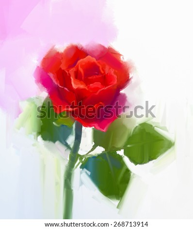Abstract red rose flower with green leaf oil painting. Hand Painted floral in soft color and  blurred style background - stock photo