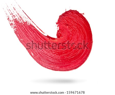 Abstract red spiral brush stroke - stock photo