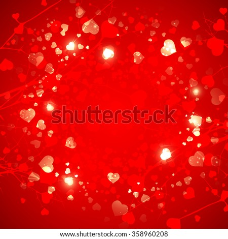 Abstract  Red St.Valentine Day Heart  Background, Copyspace - stock photo