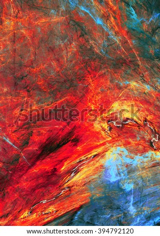Abstract red warm painting texture. Molten lava liquid background. Modern futuristic vibrant fiery pattern. Bright flame dynamic background. Fractal artwork for creative graphic design - stock photo
