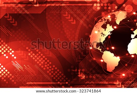 Abstract red world and technology background - stock photo