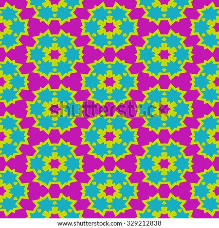 Abstract red yellow blue pink floral geometric regular pattern - stock photo