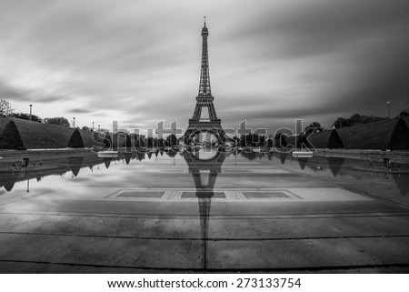 Abstract reflection of the eiffel tower seen from the trocadero gardens in paris - stock photo