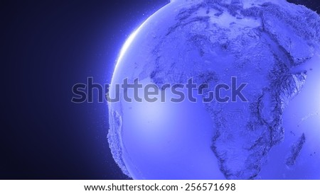 abstract reflective and refractive glass earth globe with surface relief