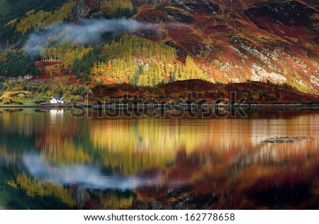 Abstract reflexion of a lake in Highlands, Scotland, Europe - stock photo