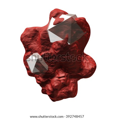 Abstract render - figure with crystals isolated on a white background