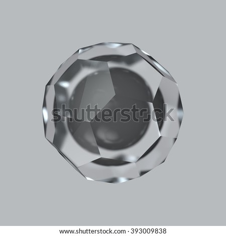 Abstract render - glass polygon with a black sphere inside at the gray background
