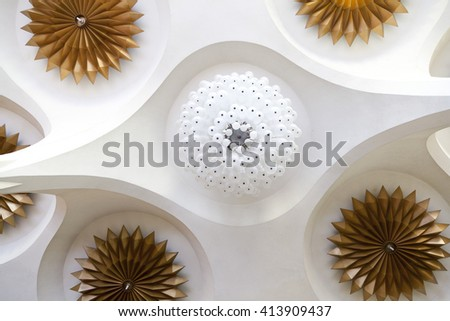 Abstract retro modern of ceiling design of building hall