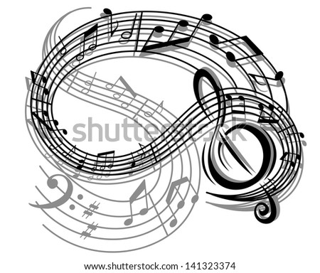 Abstract retro music background with musical notes and elements. Vector version also available in gallery - stock photo
