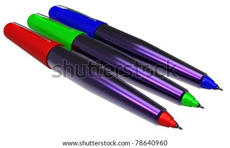 Abstract RGB pens. Isolated on a white background.
