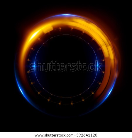 Abstract ring background with luminous swirling backdrop. Glowing spiral. The energy flow tunnel. shine round frame with light circles light effect. glowing cover. Space for your message. clock face  - stock photo