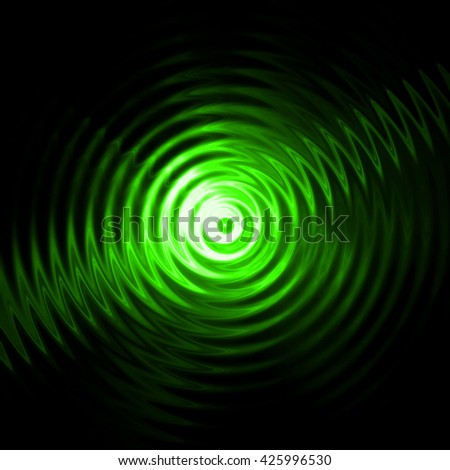 Abstract ripple in water with green light concentric circles. Droplet falling in water.  - stock photo