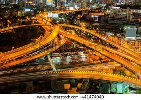 Abstract road at night in Bangkok city , Thailand. - stock photo