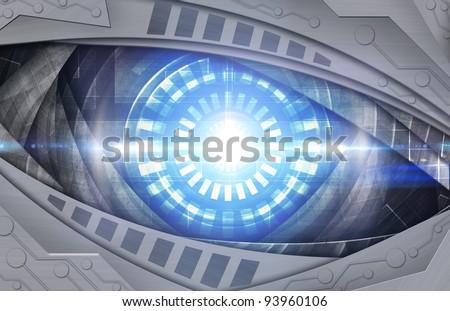 abstract robot eye background - stock photo
