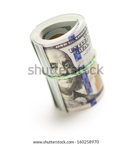 Abstract Roll of Newly Designed U.S. One Hundred Dollar Bills Isolated on a White Background.