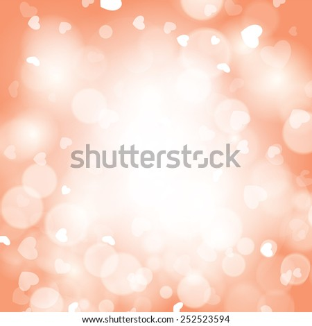 Abstract romantic background with hearts and bokeh lights. - stock photo
