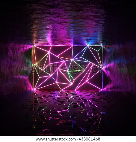 Abstract room and tessellated wall with neon glowing crack lines. Architectural space 3d illustration - stock photo