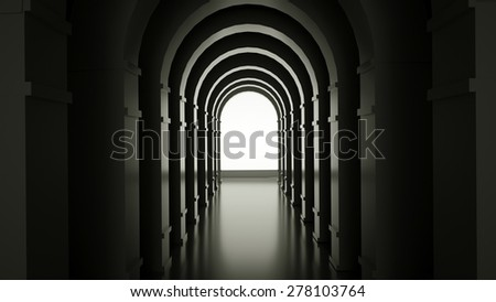 Abstract room with arches, 3 d render - stock photo