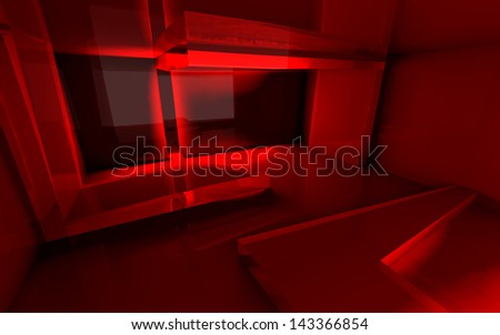 Abstract room with transparent walls red and reflections. Three-dimensional graphics. - stock photo