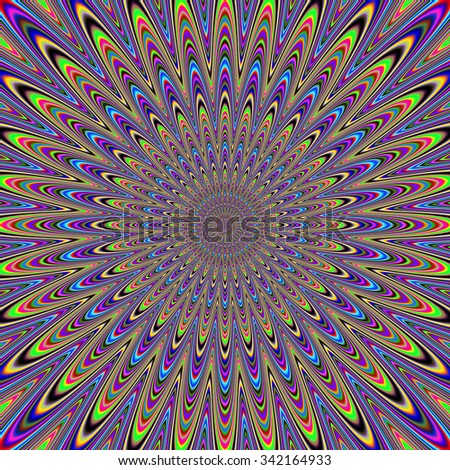 Abstract rotating and vibrating background resembling peacock feather