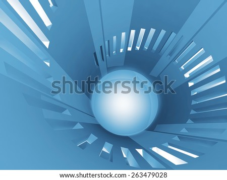 Abstract round blue tower interior with windows placed in spiral shape, 3d illustration - stock photo