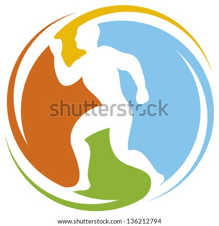 abstract runner - healthy lifestyle icon (marathon runner, running sportsman, athletic man running, healthy man running, health concept icon) - stock photo