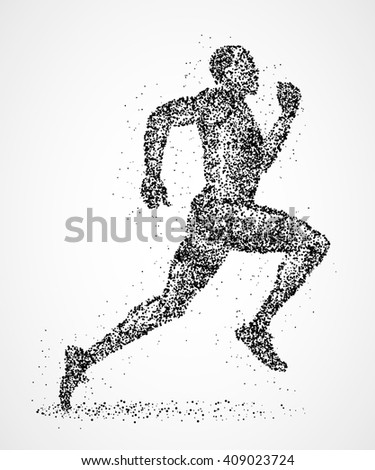 Abstract runner of black circles. Photo illustration. - stock photo