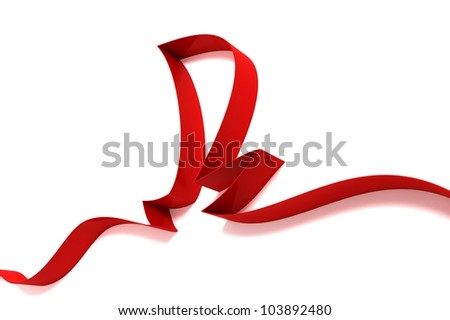 abstract sail from ribbons isolated on white background
