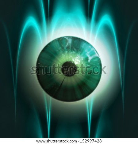Abstract scary 3d eyeball of a monster, Halloween background. - stock photo