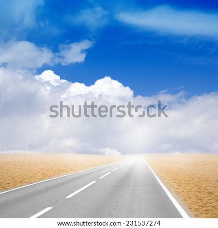 abstract scene freeway on desert - stock photo