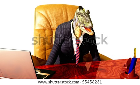 abstract scene of the chief of the dinosaur - stock photo