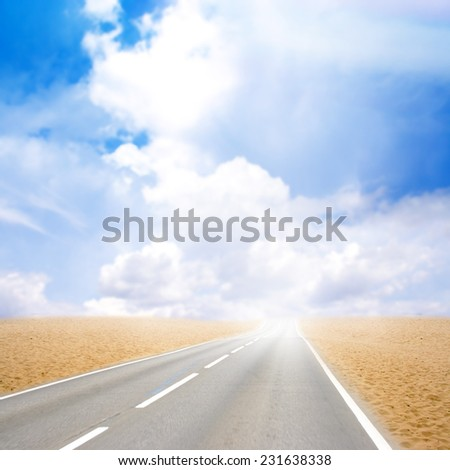 abstract scene sand desert and route - stock photo