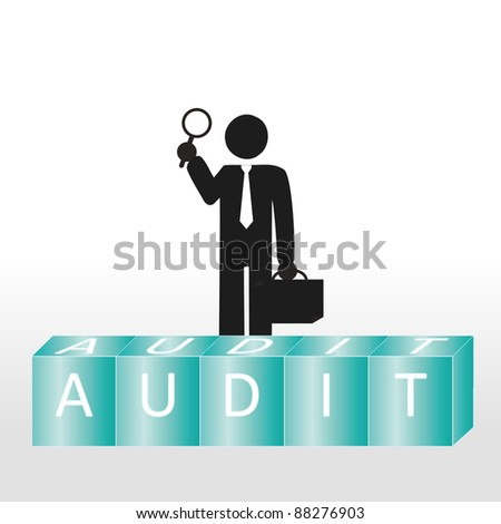 Abstract scene show person to carry audit - stock photo