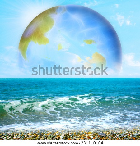 abstract scene with planet - stock photo
