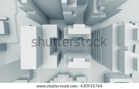 Abstract schematic contemporary cityscape, top view with perspective effect Digital 3d illustration, computer graphic