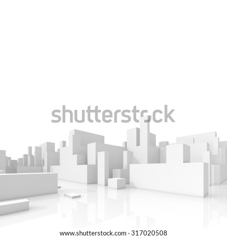Abstract schematic 3d cityscape isolated on white background, square composition with free copy space area - stock photo